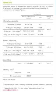 Tarifas ISBN2012